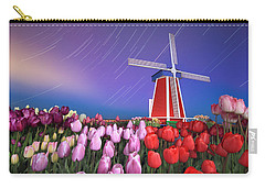 Carry-all Pouch featuring the photograph Star Trails Windmill And Tulips by William Lee