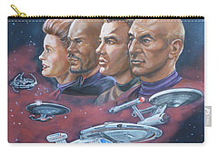 Carry-all Pouch featuring the painting Star Trek Tribute Captains by Bryan Bustard