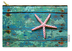 Seashore Peeling Paint - Starfish And Turquoise Carry-all Pouch by Rebecca Korpita