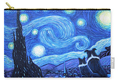 Carry-all Pouch featuring the painting Starry Night Border Collies by Fran Brooks