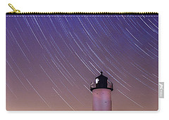 Carry-all Pouch featuring the photograph Stars Trailing Over Lighthouse by Jeff Folger