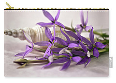 Starshine Laurentia Flowers And White Shell Carry-all Pouch by Sandra Foster
