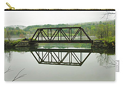Carry-all Pouch featuring the photograph Vermont Steel Railroad Trestle On A Calm  Misty Morning by Sherman Perry