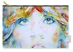 Stevie Nicks - Watercolor Portrait Carry-all Pouch by Fabrizio Cassetta