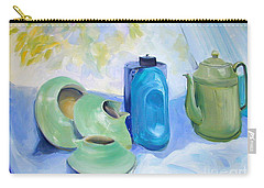 Carry-all Pouch featuring the painting Still Life In Blue And Green Pottery by Greta Corens