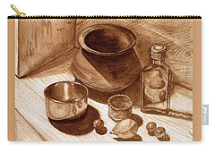 Carry-all Pouch featuring the painting Still Life Walnut Ink by Mukta Gupta