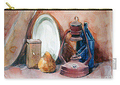 Watercolor Still Life With Rustic, Old Miners Lamp Carry-all Pouch