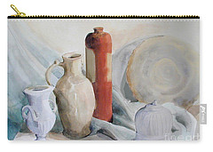 Watercolor Still Life With Pottery And Stone Carry-all Pouch