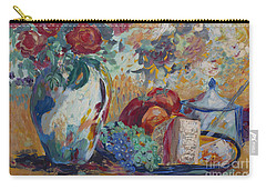 Still Life With Roses Carry-all Pouch by Avonelle Kelsey