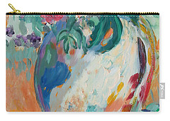 Carry-all Pouch featuring the painting Still Life With Roses Partial View by Avonelle Kelsey