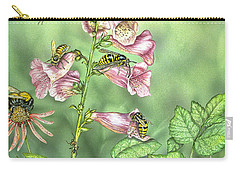 Stinging Insects In Garden Scene Carry-all Pouch by Laurie O'Keefe