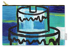 Stl250 Birthday Cake Blue And Green Small Abstract Carry-all Pouch by Genevieve Esson