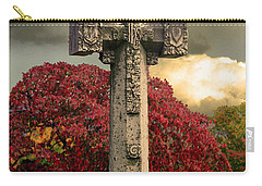 Carry-all Pouch featuring the photograph Stone Cross In Fall Garden by Lesa Fine