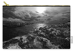 Blank And White Stormy Mediterranean Sunrise In Contrast With Black Rocks And Cliffs In Menorca  Carry-all Pouch by Pedro Cardona