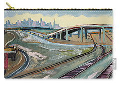 Carry-all Pouch featuring the painting Stormy Train Tracks And San Francisco  by Asha Carolyn Young
