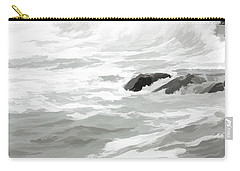 Carry-all Pouch featuring the photograph Stormy Waves Pound The Shoreline by Jeff Folger
