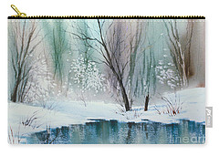 Stream Cove In Winter Carry-all Pouch by Teresa Ascone
