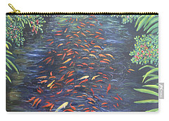Carry-all Pouch featuring the painting Stream Of Koi by Karen Zuk Rosenblatt