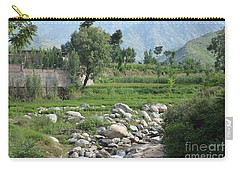 Carry-all Pouch featuring the photograph Stream Trees House And Mountains Swat Valley Pakistan by Imran Ahmed