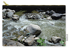 Carry-all Pouch featuring the photograph Stream Water Foams And Rushes Past Boulders by Imran Ahmed