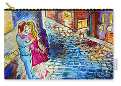 Carry-all Pouch featuring the painting Street Kiss By Night  by Ramona Matei