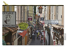 Carry-all Pouch featuring the photograph Street Scene In Antibes by Allen Sheffield