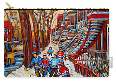 Streets Of Verdun Hockey Art Montreal Street Scene With Outdoor Winding Staircases Carry-all Pouch