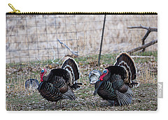 Carry-all Pouch featuring the photograph Strutting Turkeys by Michael Chatt