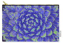 Carry-all Pouch featuring the digital art Succulent - Blue by Jane Schnetlage