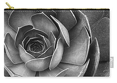 Succulent In Black And White Carry-all Pouch by Ben and Raisa Gertsberg