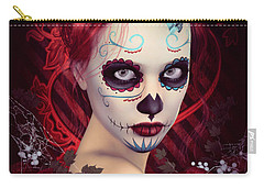 Carry-all Pouch featuring the digital art Sugar Doll Red by Shanina Conway