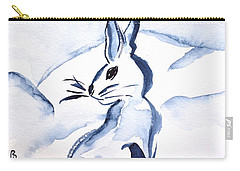 Sumi-e Snow Bunny Carry-all Pouch by Beverley Harper Tinsley