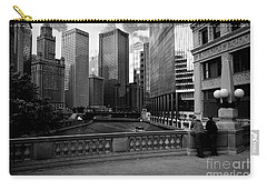 Summer On The Chicago River - Black And White Carry-all Pouch