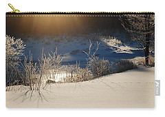 Carry-all Pouch featuring the photograph Sun On Snow by Mim White