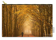 Sunday Morning Walk With The Dog In A Foggy Forest In Autumn Carry-all Pouch