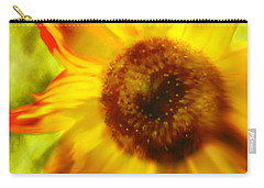 Carry-all Pouch featuring the digital art Sunflower-a-blaze by Janie Johnson