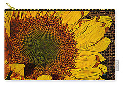 Sunflower Burlap And Turquoise Carry-all Pouch by Phyllis Denton