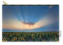Sunflower Field At Sunset Carry-all Pouch by Jim Garrison