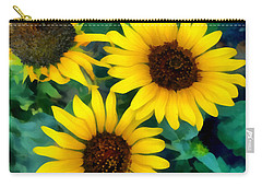 Carry-all Pouch featuring the photograph Sunflower Trio  by Ann Powell