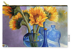Sunflowers And Blue Bottles Carry-all Pouch by Marlene Book