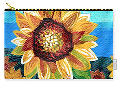 Sunflowers And Blue Sky Carry-all Pouch by Genevieve Esson