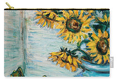 Sunflowers And Frog Carry-all Pouch by Xueling Zou