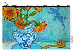 Carry-all Pouch featuring the painting Sunflowers And Lizards by Xueling Zou