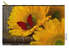 Sunflowers And Old Books Carry-all Pouch