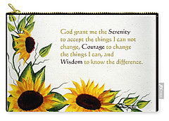 Sunflowers And Serenity Prayer Carry-all Pouch