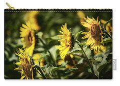Carry-all Pouch featuring the photograph Sunflowers In The Wind by Steven Sparks