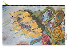 Sunflowers On A Windy Day Carry-all Pouch by Avonelle Kelsey