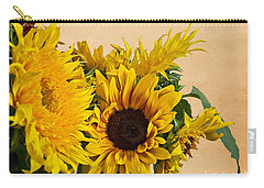 Sunflowers On Old Paper Background Art Prints Carry-all Pouch