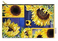 Carry-all Pouch featuring the painting Sunflowers Sunny Collage by Irina Sztukowski