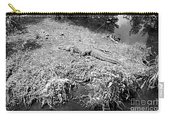 Carry-all Pouch featuring the photograph Sunny Gator Black And White by Joseph Baril